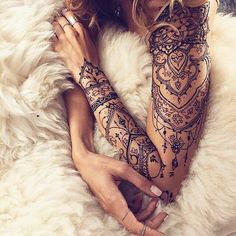 A henna tattoo or also know as temporary tattoos are a hot commodity right now. Somehow, people has considered the fact that henna designs are tattoos. Lace Tattoo Design, Mandala Tattoo Design, Disney Mandala Tattoo, Mandala Elephant Tattoo, Lace Sleeve Tattoos, Henna Tattoo Sleeve, Feminine Sleeve Tattoos, Arm Sleeve Tattoos For Women, Tattoos For Ladies