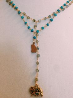 Grey and Turquoise Beaded Chain Necklace Set by MadisonMillerBeads