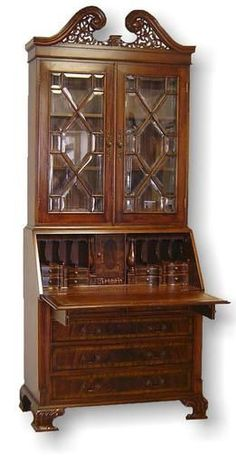 New Secretary Desk Bookcase Glass Panes Mahogany Leather Carved Bracket Feet