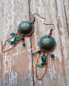A B'sue Domed Connector along with boot charms, crystals and copper chain are used in my Country Chic May Challenge Chandelier Earrings ..  Jann Tague .. Clever Designs .. https://www.facebook.com/JewelsByJann