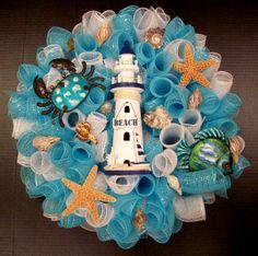 Lighthouse Wreath designed by Karen B., A.C. Moore Erie, PA #wreath #decomesh