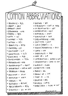 Useful symbols and abbreviations for faster note-taking. Useful for rapid-logging in your Bullet Journal®!