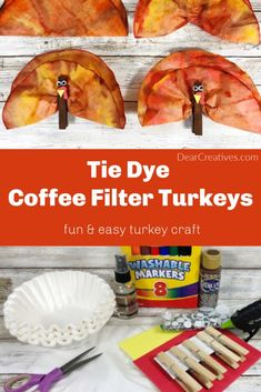 Tie Dye Coffee Filter Turkeys - Are you looking for a Thanksgiving kids craft? Make this fall craft for kids or preschoolers. It's fun and easy! Yellow Crafts, Red Crafts, Foam Crafts, Craft Stick Crafts, Diy Crafts For Tweens, Craft Projects For Kids, Project Ideas, Pinterest Crafts For Kids, Construction For Kids