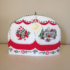 vintage christmas tablecloth teapot cozy