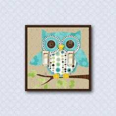 owl switch plate cover, brown and blue children's room decor, kid's light switch cover owl nursery decor DP-018-D1 sur Etsy, $21.59 CAD