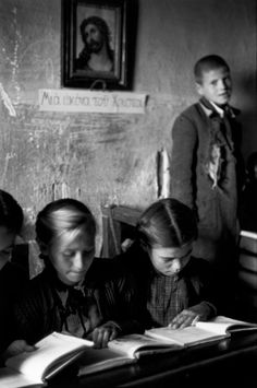 School of the village of Chortiatis near Salonika, burnt by the Germans in retaliation during the war.School is now held in the church. Copyright © David Seymour/Magnum Photos International Center of Photography Greece Pictures, Old Pictures, Old Photos, Wolves And Women, Greece Photography, Greek History, Vintage School, Magnum Photos, Papi