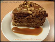 Cheesecake poires chocolat ricotta noix http://www.carmen-cuisine.com/article-cheesecake-poires-chocolat-ricotta-noix-84957355.html