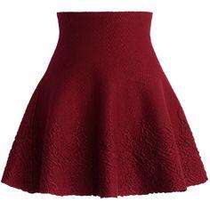 Chicwish Dance Around Emboss Skater Skirt in Wine ($38) ❤ liked on Polyvore featuring skirts, bottoms, faldas, red, red knee length skirt, red skater skirt, red circle skirt, flared skirt and red skirt