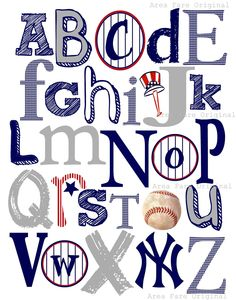 8 x 10 NY Yankees ABC Nursery Art Print. $15.00, via Etsy.