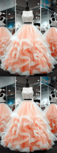 coral prom dresses, ball gowns prom dress, two piece prom dress, 2 piece prom dress Prom Dresses Two Piece, A Line Prom Dresses, Bridesmaid Dresses, Coral Prom Dresses, 8th Grade Prom Dresses, Beaded Dresses, Two Piece Quinceanera Dresses, Dress Piece, Wedding Dresses