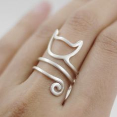 Fashion Sterling Silver Cute Cat Kitten Katze Finger Rings for Women Spiral Wound