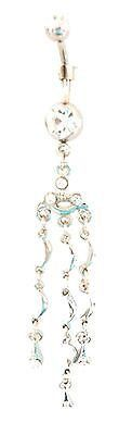 Belly Ring Cascading Extra Long Clear Gem Dangle Naval Steel Body Jewelry
