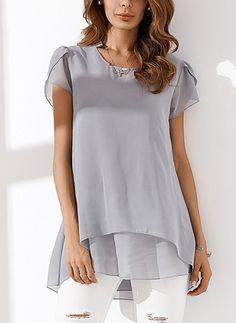 Camicie Casual Cotone Manica corta Altro Monocolore (1059522) Moda Denim 53057741a743