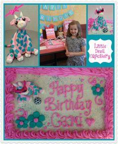 Giraffe wearing pink sunglasses birthday cake!