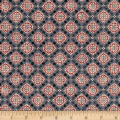 Designed by French General for Moda, this classic reproduction print features abstract floral prints in a diagonal check pattern. Perfect for quilting, apparel and home decor accents. Colors include black, grey, cream, red, blue and charcoal