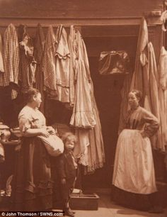 These women are gainfully employed in the second-hand clothes busines - back when vintage really was vintage  Read more: http://www.dailymail.co.uk/news/article-2487041/Dickens-London-brought-life-Fascinating-snapshot-Victorian-street-traders-taken-dawn-photography.html#ixzz3cQJ9fCT9  Follow us: @MailOnline on Twitter | DailyMail on Facebook