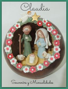 Pesebre en calabaza redonda .-www.facebook.com/pages/Claudia-Souvenirs-y-Manualidades-/283298225105386?fref=ts