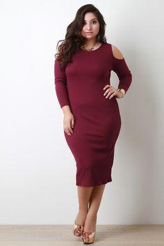 Plus Size Cold Shoulder Ribbed Knit Midi Dress Plus Size Mini Dresses, Plus Size Bodycon Dresses, Midi Dresses, Plus Size Fall Fashion, Hottest Models, Beautiful Models, Knit Dress, Trendy Outfits, Cold Shoulder Dress