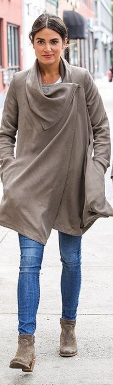 Who made Nikki Reed's gray coat that she wore in New York on October 10, 2013?