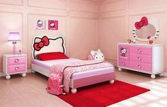 Incroyable Hello Kitty Bedroom Ideas, Decor, Design, Spaces, Fun, House, Life, Loe,  Interiors, Friends, Table Lamps, Comforter, Curtains, Chairs, Alarm Clock  And Boxes ...