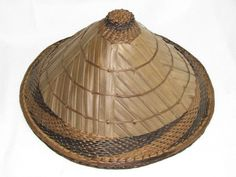 """VINTAGE ASIAN CHINESE BAMBOO STRAW COOLIE RICE PADDY FARMER HAT 12"""" #Handmade #asian"""