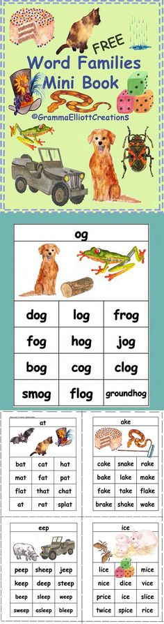 Great for intervention tutoring.  This package contains a book page and flash cards for these word families: ake, og, ice, ain, at, ug, eep. Chanting little poems with rhyming words is helpful even before children know all the letters, and kids love little books. The images on each page are clues for sounding out the words on that page. Sorting flash cards into families and writing the words in a family will help students learn the words.