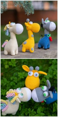 Amigurumi CROCHET PATTERN toys Giraffe, Unicorn and Donkey. This crochet pattern contains a detailed description of how to create Unicorn, with a great amount of step-by-step photos and a list of necessary materials. Crochet Elephant Pattern, Crochet Teddy Bear Pattern, Giraffe Pattern, Crochet Mouse, Crochet Unicorn, Crochet Animal Patterns, Stuffed Animal Patterns, Crochet Patterns Amigurumi, Crochet Animals