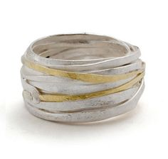 vvv shimara carlow 1mm Silver + Gold Wrap Ring Sterling silver and 18ct gold - 12mm wide and 2.5mm deep