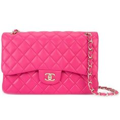 Chanel Vintage Jumbo Double Flap Bag ($6,435) ❤ liked on Polyvore featuring bags, handbags, chanel bags, pink quilted handbag, pink quilted purse, chanel handbags and pink purse