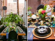 back alley wedding with black & gold tablescape. this is the ultimate dream.