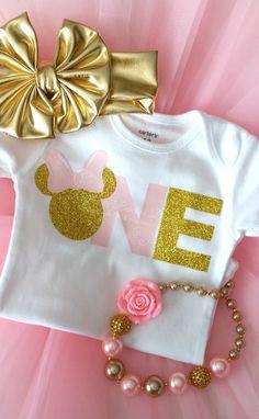 Minnie First Birthday Pink & Gold Glitter Shirt - Ruffles & Bowties Bowtique - 1 Minnie Mouse First Birthday, Minnie Mouse Theme, Baby Girl First Birthday, First Birthday Parties, Birthday Ideas, Disney Birthday, 2nd Birthday, Glitter Shirt, Gold Glitter