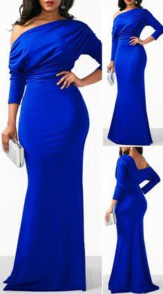 Blue Backless Draped Fringe Mermaid Dress - New Site Elegant Dresses Classy, Classy Dress, Pretty Dresses, Beautiful Dresses, African Wear Dresses, Latest African Fashion Dresses, Cute Dress Outfits, Casual Dresses, Sexy Dresses