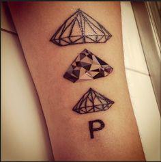 Tatuaje, diamantes, triángulos, triangulation