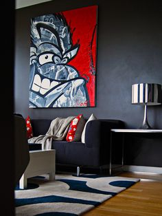 Bold Navy room - love the lamp and painting