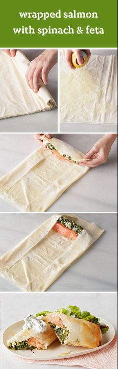 Spinach and feta wrap. Wrapped Salmon with Spinach & Feta – Serve up a delicious salmon in phyllo with spinach and feta to your family, and watch the smiles appear! This recipe is perfect for a lunchtime or dinnertime bite and is easy to prepare at home. Salmon Recipes, Fish Recipes, Seafood Recipes, Cooking Recipes, Healthy Recipes, Recipies, Phyllo Recipes, Seafood Meals, Fish Dishes