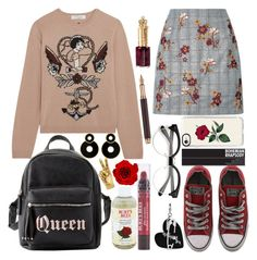 """killer queen"" by voidman ❤ liked on Polyvore featuring Valentino, Converse, Charlotte Russe, Burt's Bees, Edie Parker, Casetify and Caran d'Ache"
