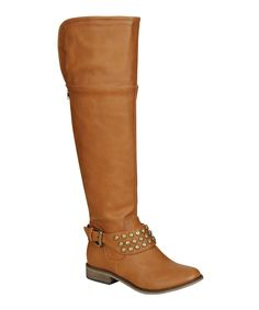 Tan Studded Over-the-Knee Boot