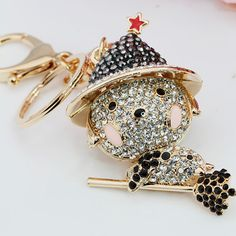 Fashion Men Women plating gold silver chain keychain pendant hollow crystal keychain magic puppy jewelry gift(China (Mainland))