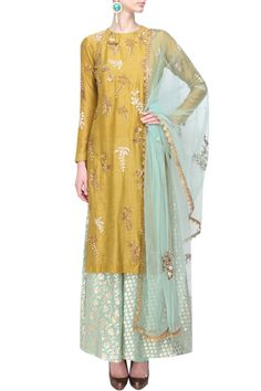 Yellow floral embroidered kurta and mint brocade sharara set - Joy Mitra