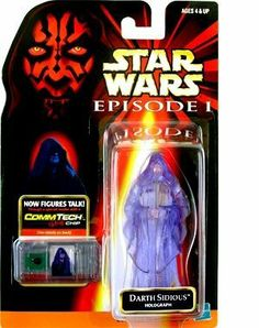 Star Wars Episode 1 Darth Sidious Holographic Action Figure by Hasbro. $9.99. Holographic Darth Sidious talks with special Comm Tech Chip. Recommended for ages 4 and up. Realistic details and stays true to character features. Star Wars, Episode I action figure. Star Wars: Episode 1 > Darth Sidious (Holographic) Action Figure