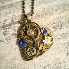 Steampunk Heart Necklace Antique Bronze Heart Shaped Gear