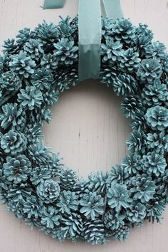 Robins Egg Blue Pinecone Wreath-Spring by TheTangledTreehouse