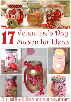 Lots of great crafting ideas for Valentine's Day using mason jars