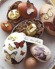 easter decor 3 - (Love the idea of using butterflies on eggs!)