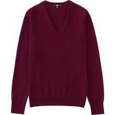 100% Cashmere v Neck Sweater (3.680 RUB) ❤ liked on Polyvore featuring tops, sweaters, wine, long v neck sweater, wine sweater, purple sweaters, v-neck sweater and long purple sweater