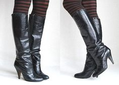 1980s Vinyl Leather Boots || Vintage 80s Black Knee-High Zip Up Boots || Tall Sexy Spiked High Heels Size 6 US