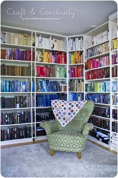 for the library, rainbow sorted books....of course it would probably bug me that they weren't in alphabetical order, but it looks cool!