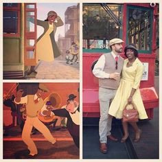 Princess and the Frog Disneybound (Tiana and Naveen) Dapper Day 2014 at Disneyland. I need a man so I can do this. Frog Costume, Hallowen Costume, Couple Halloween Costumes, Halloween Cosplay, Cosplay Costumes, Costume Ideas, Woman Costumes, Cosplay Ideas, Halloween Ideas