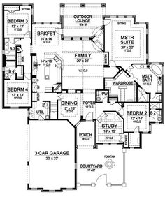 First Floor image of RIDGEVIEW RANCH House Plan. This is a good one.  Just need it on a basement.