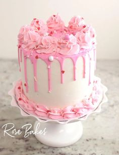 Canned Frosting Drip Cake. You can use canned frosting to make a drip cake & you will love how fool-proof this method is. Visit Rose Bakes for details! Valentine Desserts, Valentines, Canned Frosting, Strawberry Mousse, Low Carb Cheesecake, Unsweetened Chocolate, Gluten Free Cakes, Drip Cakes, Shredded Coconut